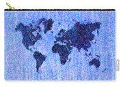 Blue Pointillist World Map Carry-all Pouch