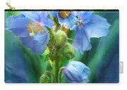 Blue Poppy Bouquet - Square Carry-all Pouch