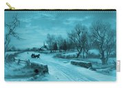 Blue Retro Vintage Rural Winter Scene Carry-all Pouch