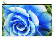 Blue Rose With Brushstrokes Carry-all Pouch