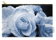 Blue Roses With Raindrops Carry-all Pouch