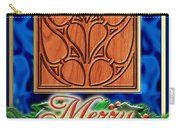Blue Satin Merry Christmas Carry-all Pouch