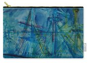 Blue Schooner Pen & Ink With Wc On Paper Carry-all Pouch