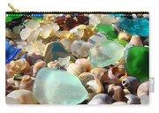 Blue Seaglass Beach Art Prints Shells Agates Carry-all Pouch