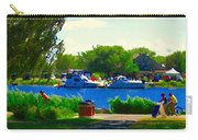 Blue Skies Boats And Bikes Montreal Summer Scene The Lachine Canal Seascape Art Carole Spandau Carry-all Pouch