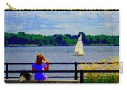 Blue Skies White Sails Drifting Blonde Girl And Collie Watch River Run Lachine Scenes Carole Spandau Carry-all Pouch