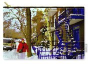 Blue Snowy Staircase And Birch Tree Montreal Winter City Scene Quebec Artist Carole Spandau Carry-all Pouch