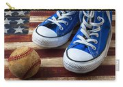 Blue Tennis Shoes And Baseball Carry-all Pouch