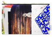 Blue Tile Brown Door 1 Carry-all Pouch
