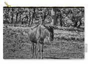 Blue Wildebeest-black And White Carry-all Pouch