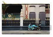 Blue Yellow Sporty Motorcycle Parked On Pavement Carry-all Pouch