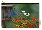 Bluebird And Colorful Flowers Carry-all Pouch