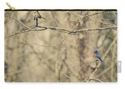 Bluebird And Sparrow Carry-all Pouch by Heather Applegate