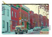 Blues And Brick Houses Winter Street Suburban Scenes The Point Sud Ouest Montreal Art Carole Spandau Carry-all Pouch