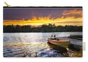 Boat On Lake At Sunset Carry-all Pouch