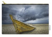 Boat On The Beach With Oncoming Storm Carry-all Pouch