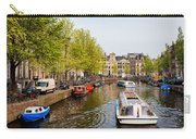 Boats On Canal Tour In Amsterdam Carry-all Pouch