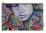 Bob Dylan-pink And Green Carry-all Pouch by Joshua Morton