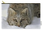Bobcat Crouching In Snow Colorado Carry-all Pouch