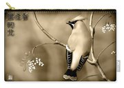 Bohemian Waxwing In Sepia Carry-all Pouch