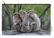 Bonnet Macaque Trio Huddling India Carry-all Pouch