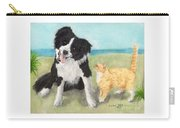 Border Collie Dog Orange Tabby Cat Art Carry-all Pouch