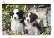 Border Collie Dog, Two Puppies Carry-all Pouch
