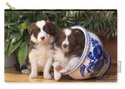 Border Collie Puppies In Plant Pot Carry-all Pouch