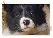 Border Collie Puppy And Wooden Wheel Carry-all Pouch