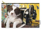 Border Collie Puppy With Sewing Machine Carry-all Pouch