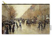 Boulevard Poissonniere In The Rain, C.1885 Oil On Canvas Carry-all Pouch