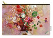 Bouquet Of Flowers In A Japanese Vase Carry-all Pouch by Odilon Redon