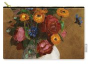 Bouquet Of Flowers In A White Vase Carry-all Pouch