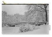 Bow Bridge In Central Park During Snowstorm Bw Carry-all Pouch by Susan Candelario