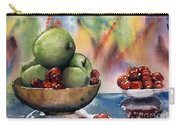 Apples In A Wooden Bowl With Cherries On The Side Carry-all Pouch