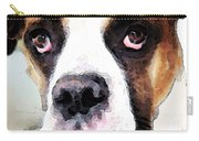 Boxer Art - Sad Eyes Carry-all Pouch by Sharon Cummings