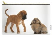 Boxer Puppy With Lionhead-lop Rabbit Carry-all Pouch