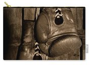 Boxing Gloves  Black And White Carry-all Pouch by Paul Ward