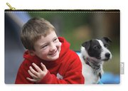 Boy, Age 6, Smiling With Jack Russell Carry-all Pouch