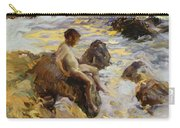 Boy In The Breakers Carry-all Pouch by Joaquin Sorolla y Bastida