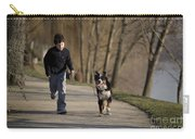 Boy Running With Dog Carry-all Pouch