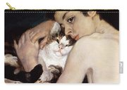 Boy With A Cat Carry-all Pouch by Pierre-Auguste Renoir
