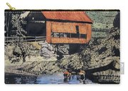 Boys And Covered Bridge Carry-all Pouch by Joseph Juvenal