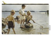 Boys Playing On The Shore Carry-all Pouch