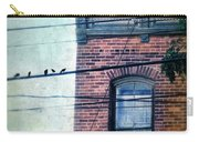 Brick Building Birds On Wires Carry-all Pouch
