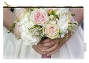 Bride Holding A Bouquet Of Wedding Flowers Carry-all Pouch