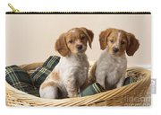 Brittany Dog Puppies In Basket Carry-all Pouch