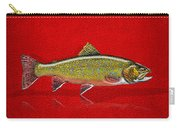 Brook Trout On Red Leather Carry-all Pouch
