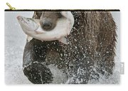 Brown Bear With Salmon Catch Carry-all Pouch by Gary Langley