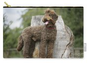 Brown Labradoodle Standing On Tree Stump Carry-all Pouch